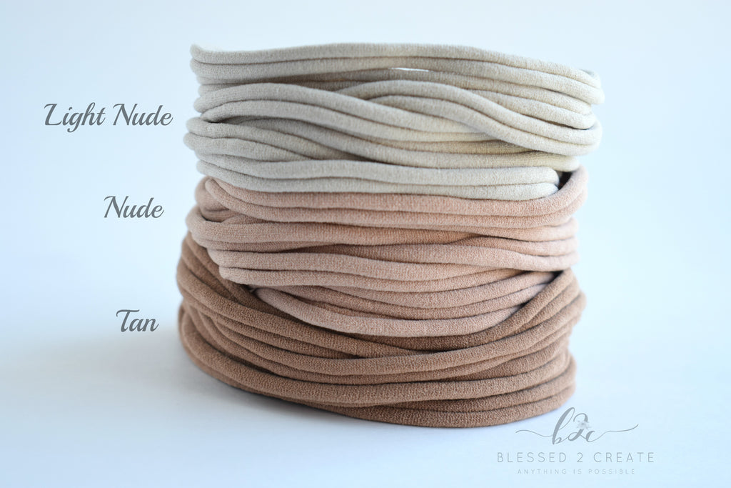 Set of 5 Tan Nylon Headbands / Run-Resistant / High Quality