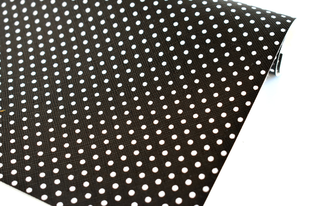 Black with White Polka Dots Faux Leather Fabric Sheet
