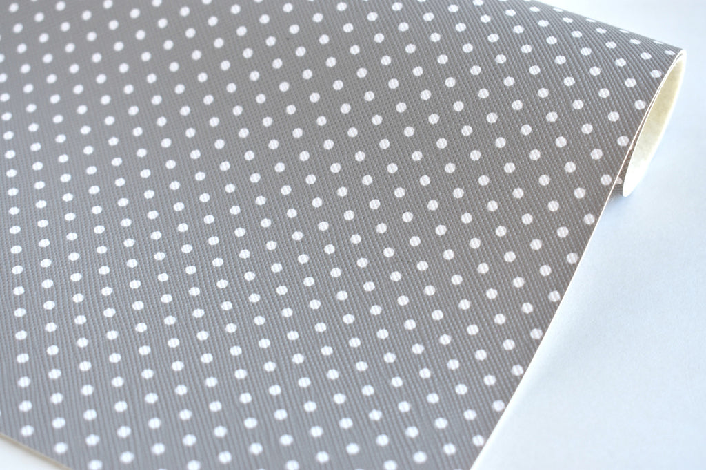 Light Gray with White Polka Dots Faux Leather Fabric Sheet