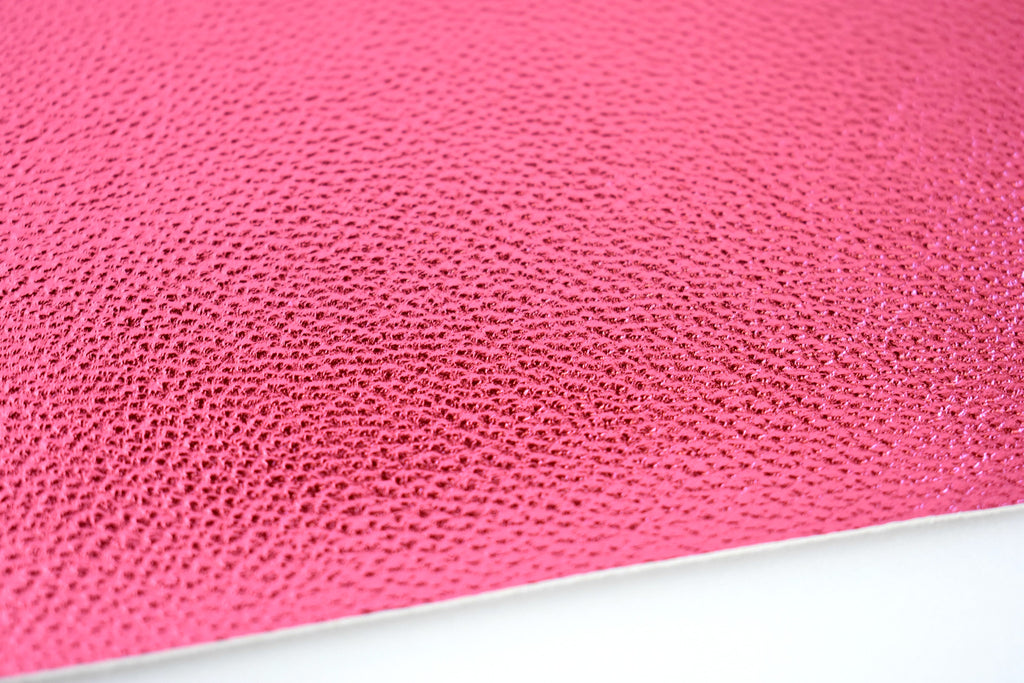 Raspberry Shiny Metallic Textured Faux Leather Fabric Sheet
