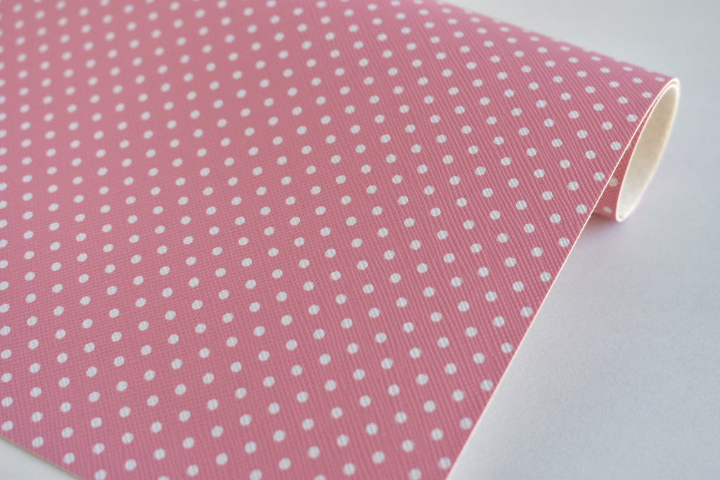 Pink with White Polka Dots Faux Leather Fabric Sheet
