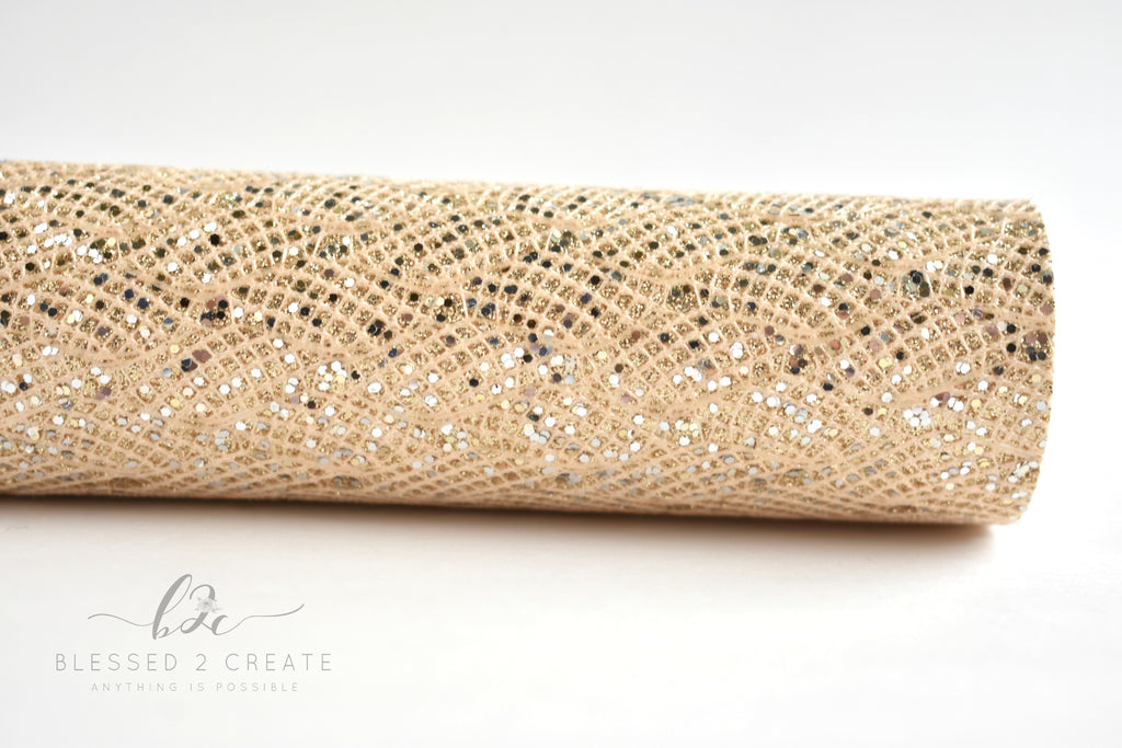 Ivory Gold Lace Chunky Glitter Fabric Sheet