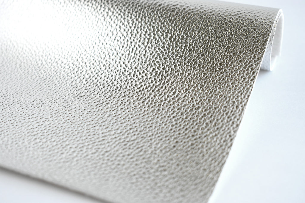 Silver Shiny Metallic Textured Faux Leather Fabric Sheet