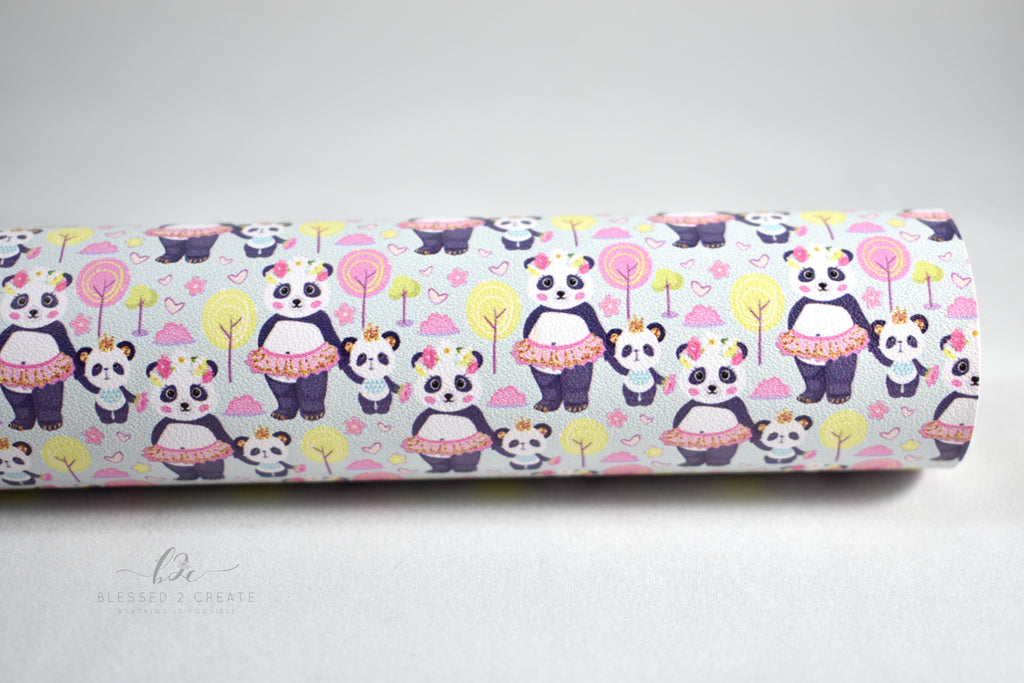 Beary Cute Faux Leather Custom Fabric Sheet