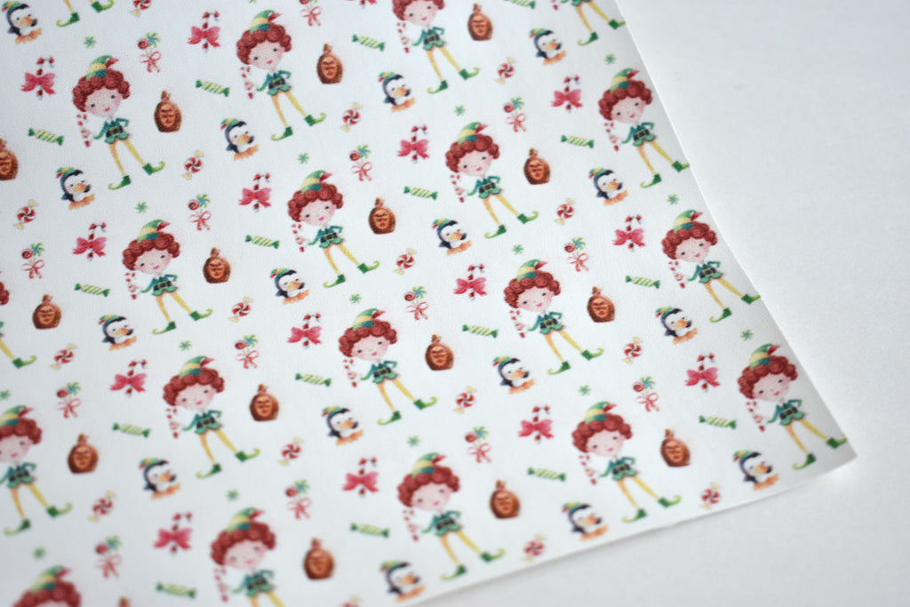 Smiling's My Favorite - Elf - Faux Leather Custom Fabric Sheet