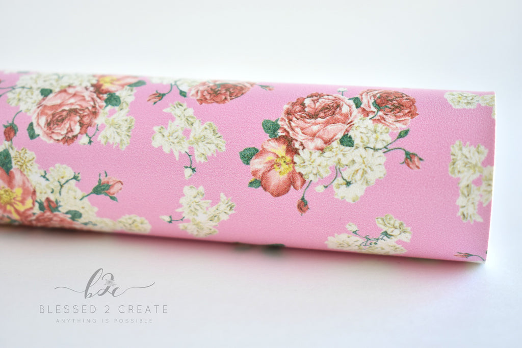 Pink Floral on Pink Faux Leather Fabric Sheet