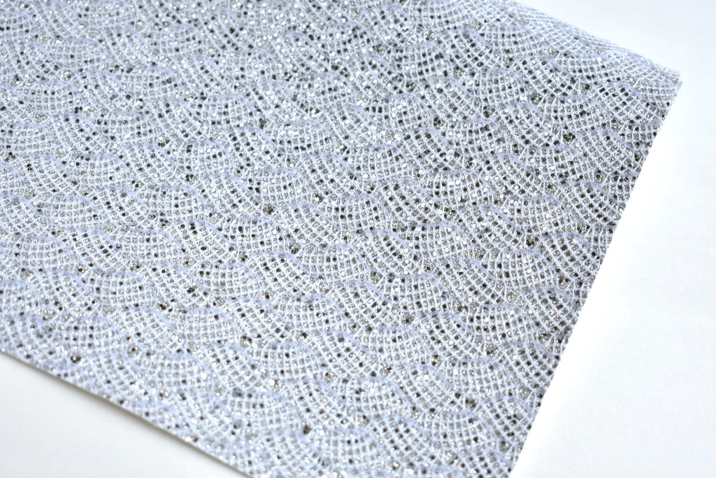 Silver White Lace Chunky Glitter Fabric Sheet