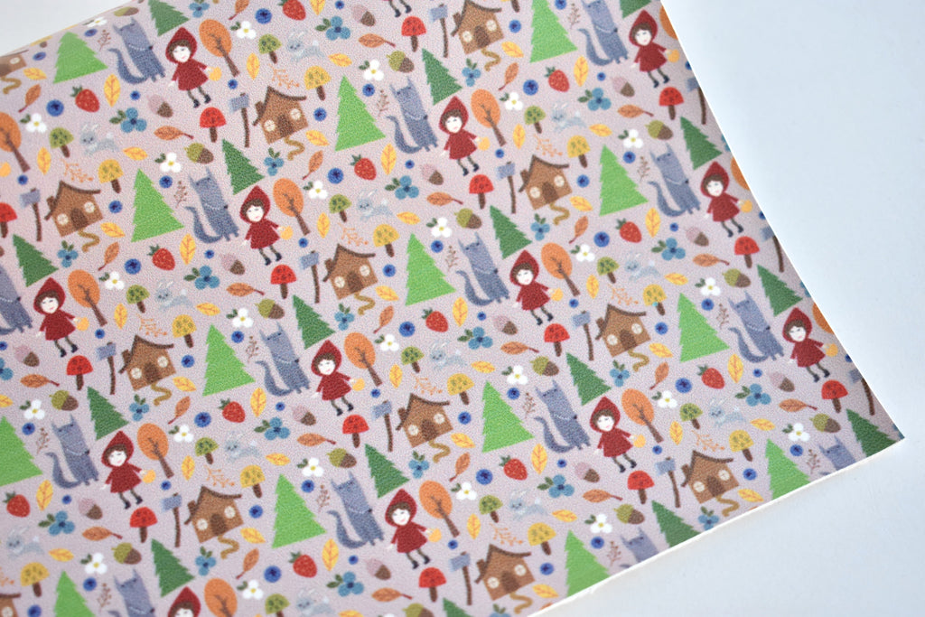 EXCLUSIVE Little Red Riding Hood Faux Leather Custom Fabric Sheet