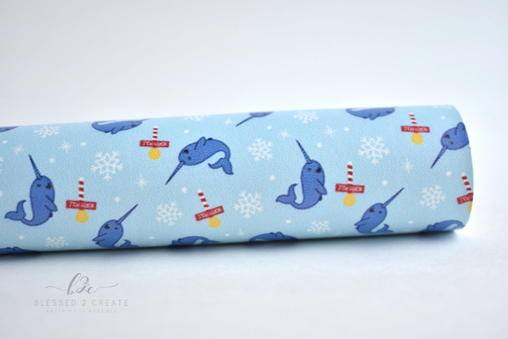 EXCLUSIVE Mr. Narwhal Faux Leather Custom Fabric Sheet