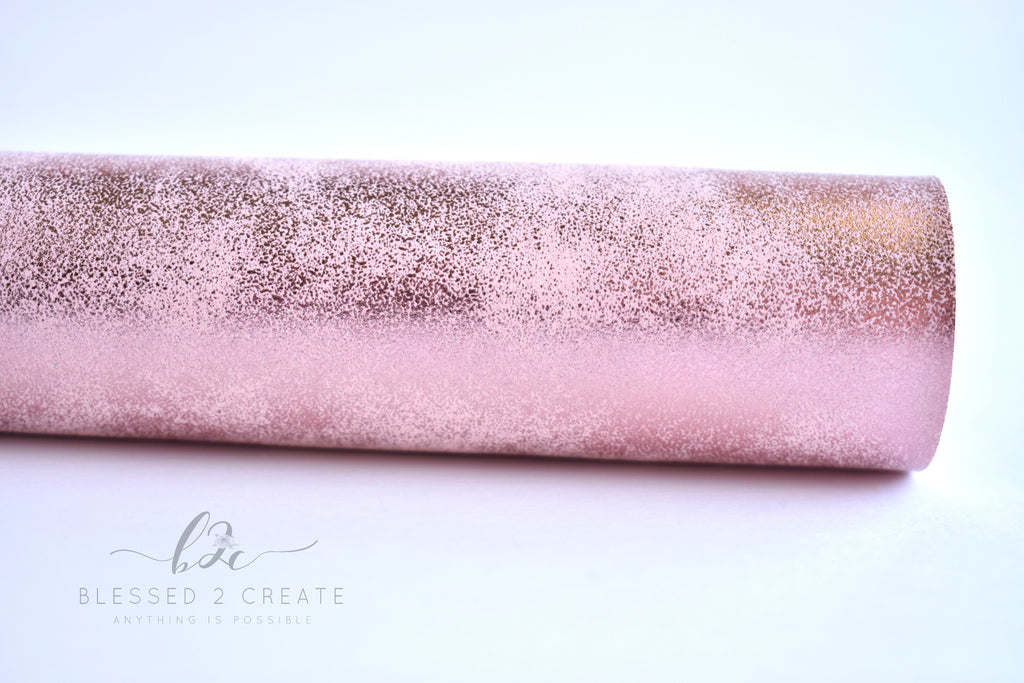 Pink Metallic Splash Faux Leather Fabric Sheet