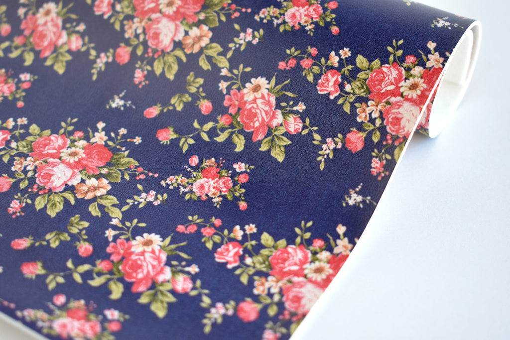 Small Pink Floral on Navy Faux Leather Fabric Sheet