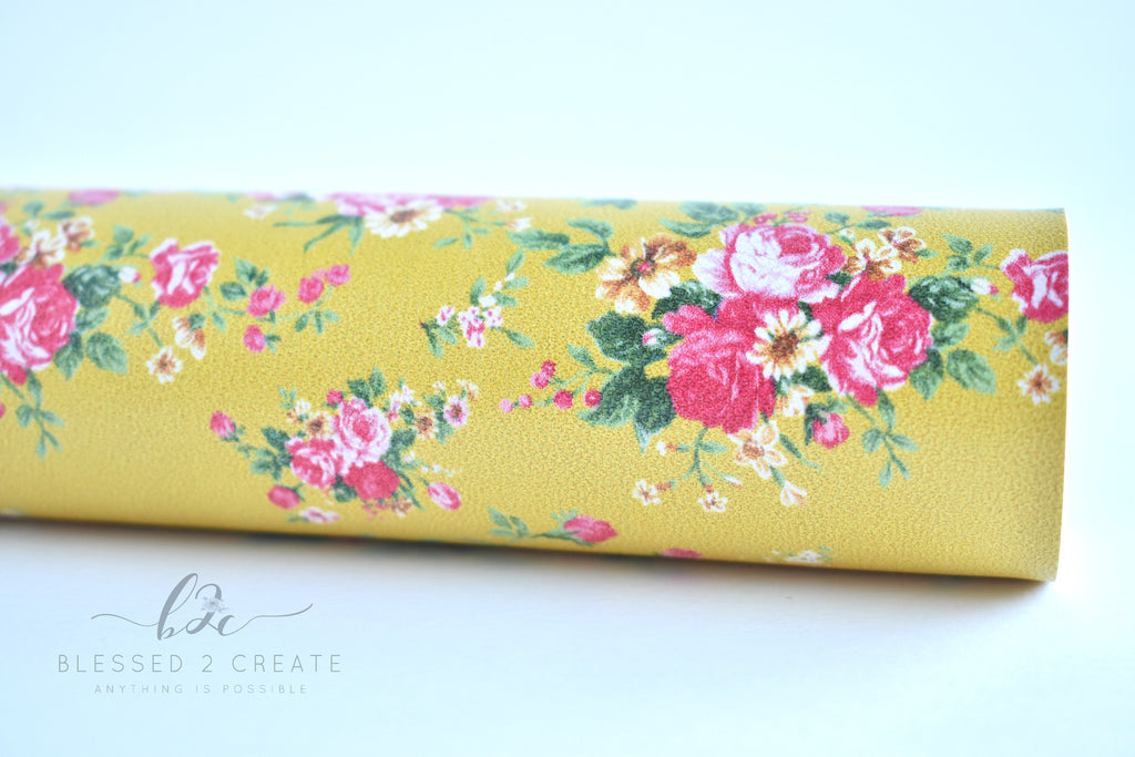 Small Pink Floral on Mustard Faux Leather Fabric Sheet