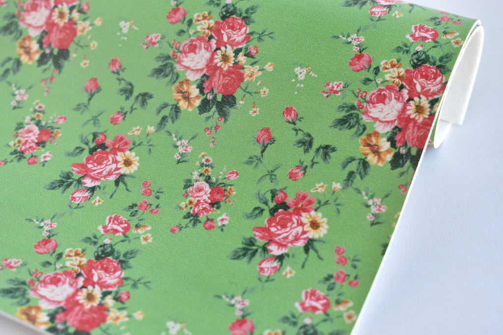 Small Pink Floral on Spring Green Faux Leather Fabric Sheet