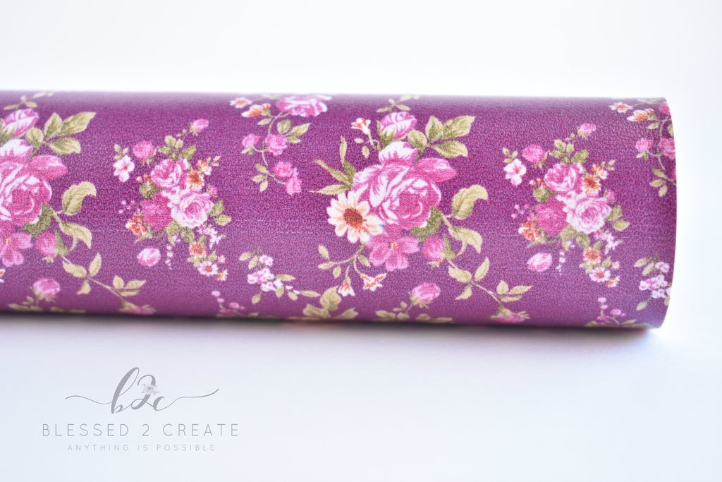 Small Purple Floral on Plum Faux Leather Fabric Sheet