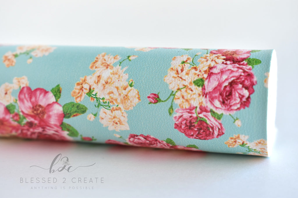 Pink Floral on Aqua Blue Faux Leather Fabric Sheet