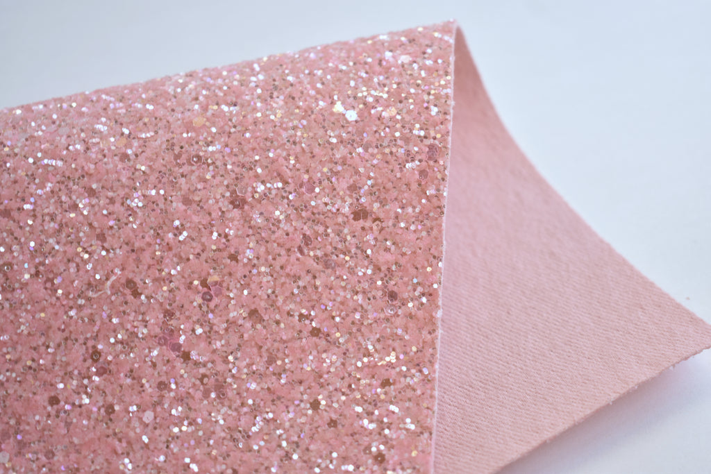 Baby Pink Frosted Chunky Glitter Fabric Sheet