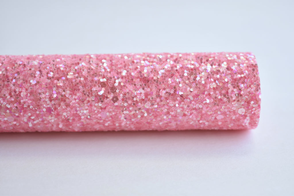 Bubblegum Pink Frosted Chunky Glitter Fabric Sheet