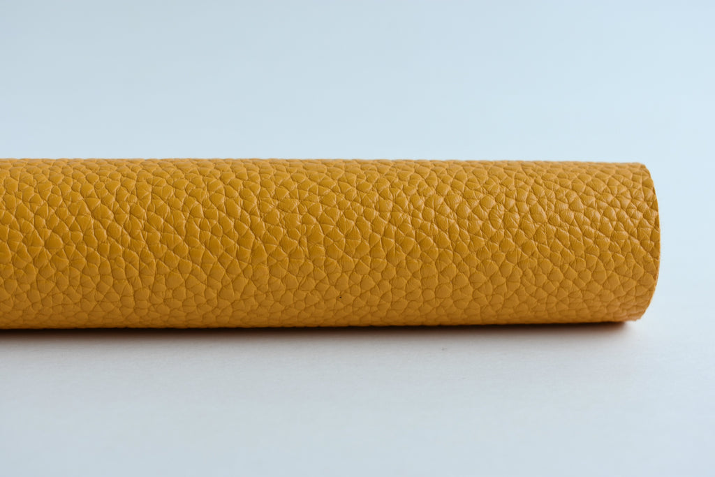 Mustard Textured Faux Leather Fabric Sheet