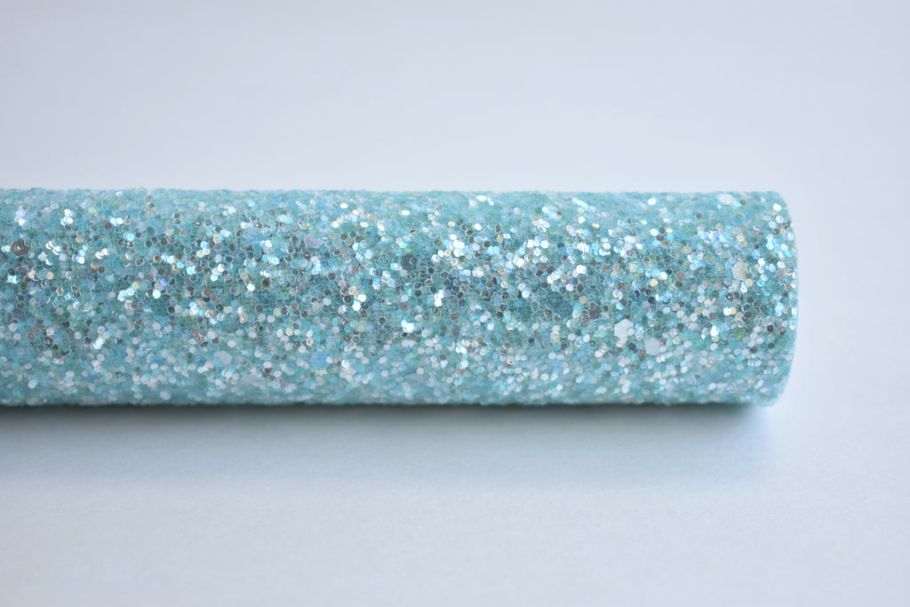Baby Blue Frosted Chunky Glitter Fabric Sheet