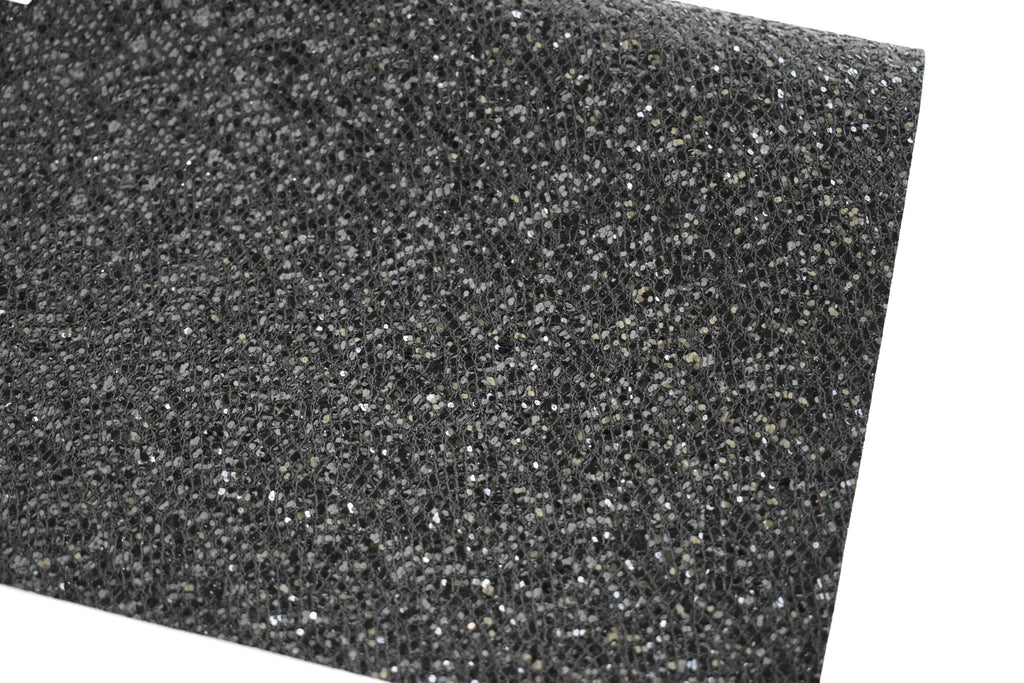 Black Lace Chunky Glitter Fabric Sheet