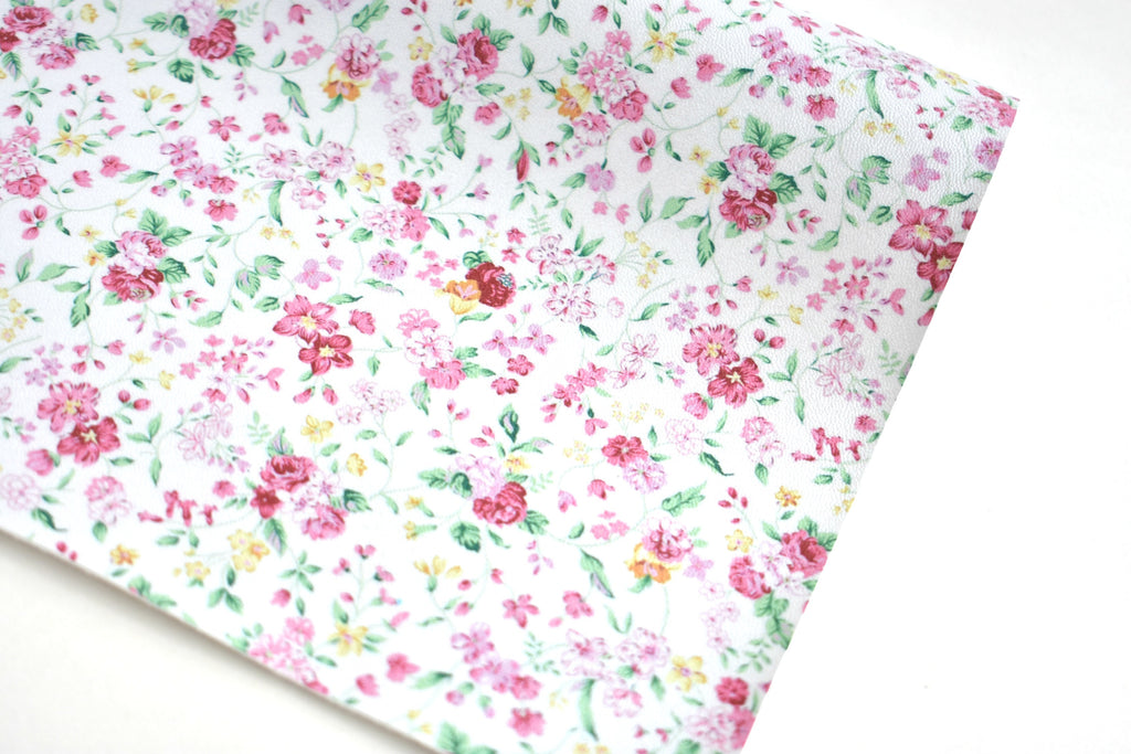 White Pearl Floral Faux Leather Fabric Sheet