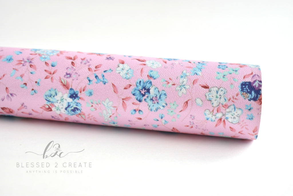 Pink Pearl Floral Faux Leather Fabric Sheet