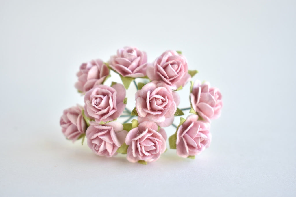 10 - 10mm Rose Pink Rose Mulberry Paper Flowers