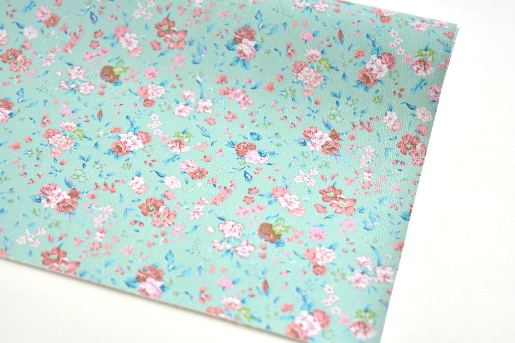 Mint Pearl Floral Faux Leather Fabric Sheet