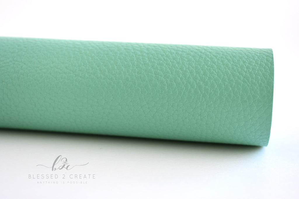 Mint Textured Faux Leather Fabric Sheet
