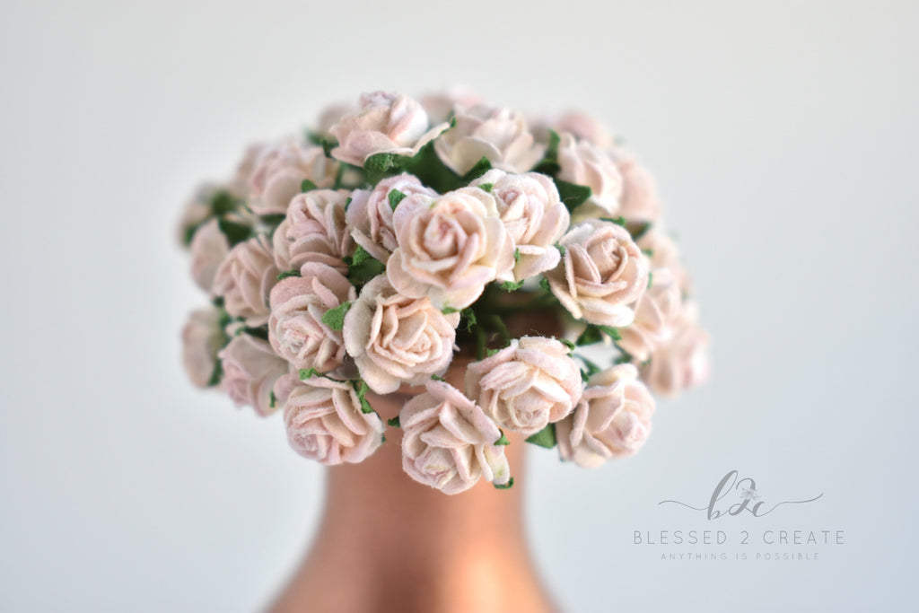 10- 10mm Ivory and Pink Rose Mulberry Paper Flowers