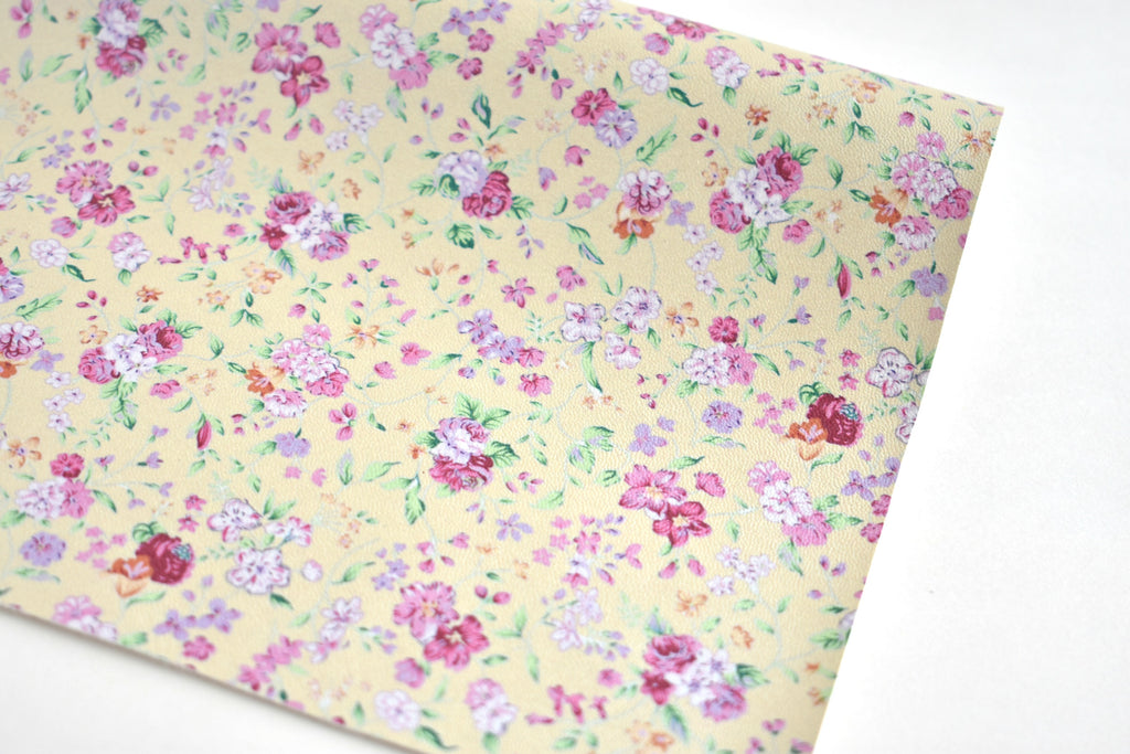 Cream Pearl Floral Faux Leather Fabric Sheet
