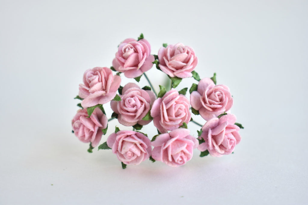 10- 10mm Baby Pink Rose Mulberry Paper Flowers