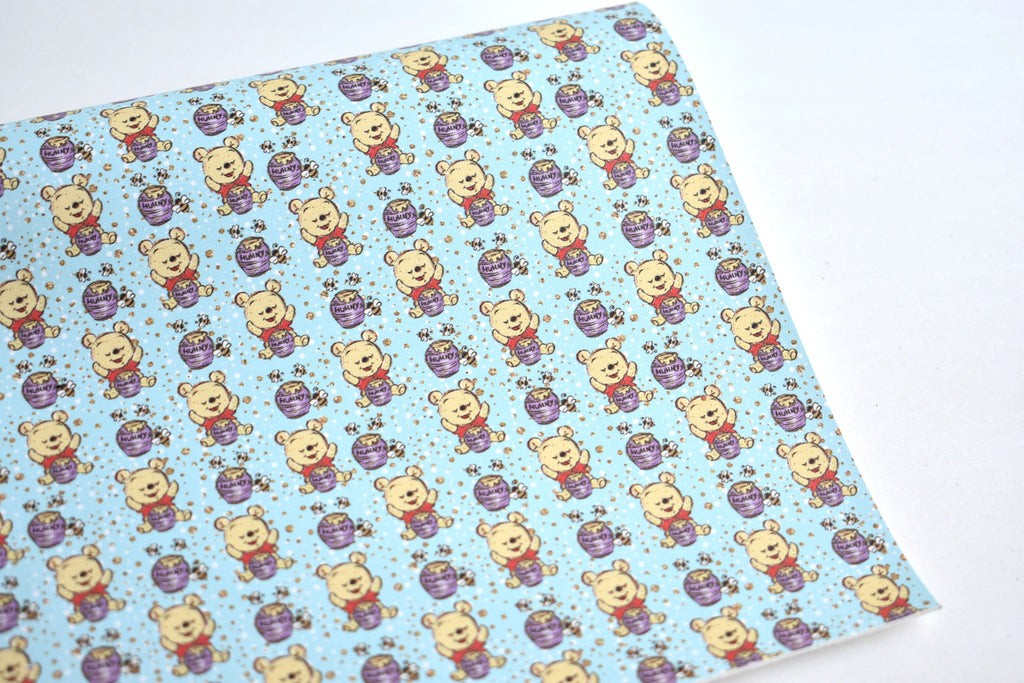 Hunny Bear Faux Leather Custom Fabric Sheet