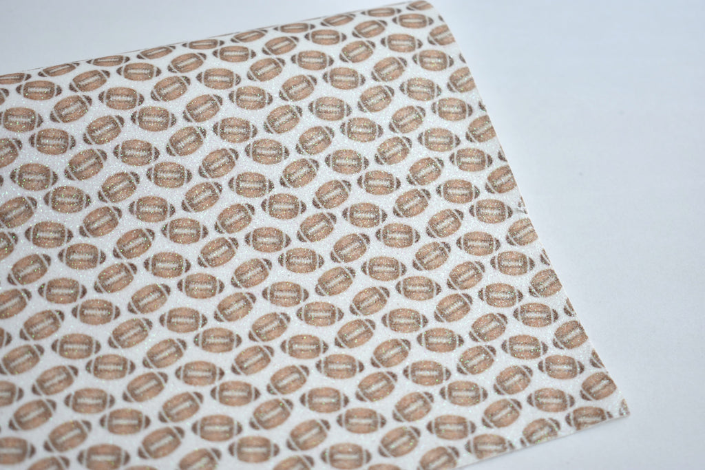 Footballs Fine Glitter Custom Fabric Sheet