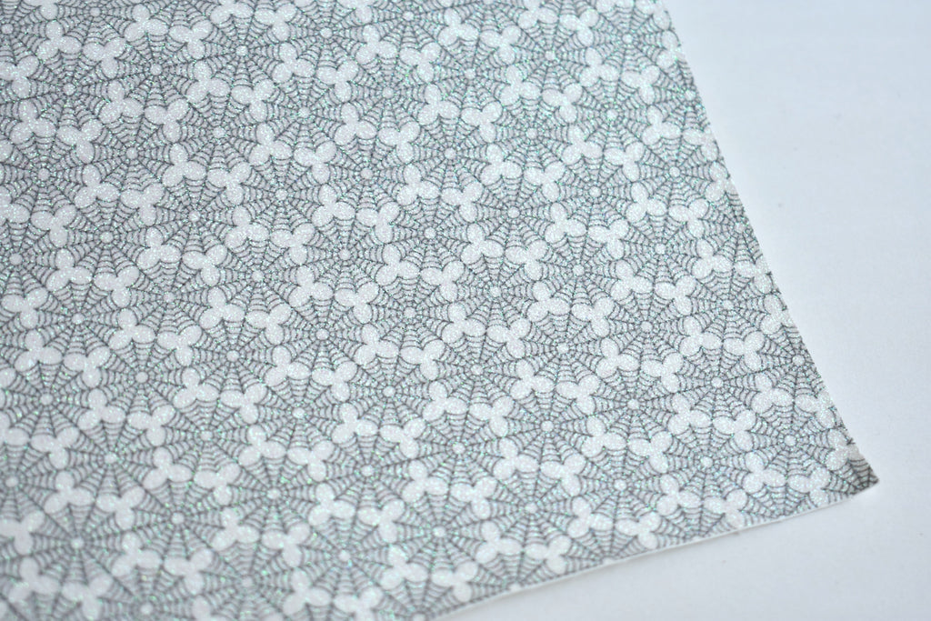 Spider Web Fine Glitter Custom Fabric Sheet