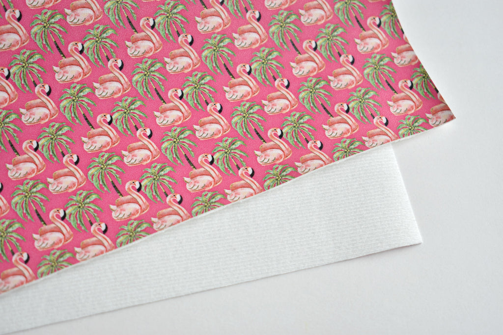 Flamingo Pool Floats & Palm Trees Faux Leather Custom Fabric Sheet