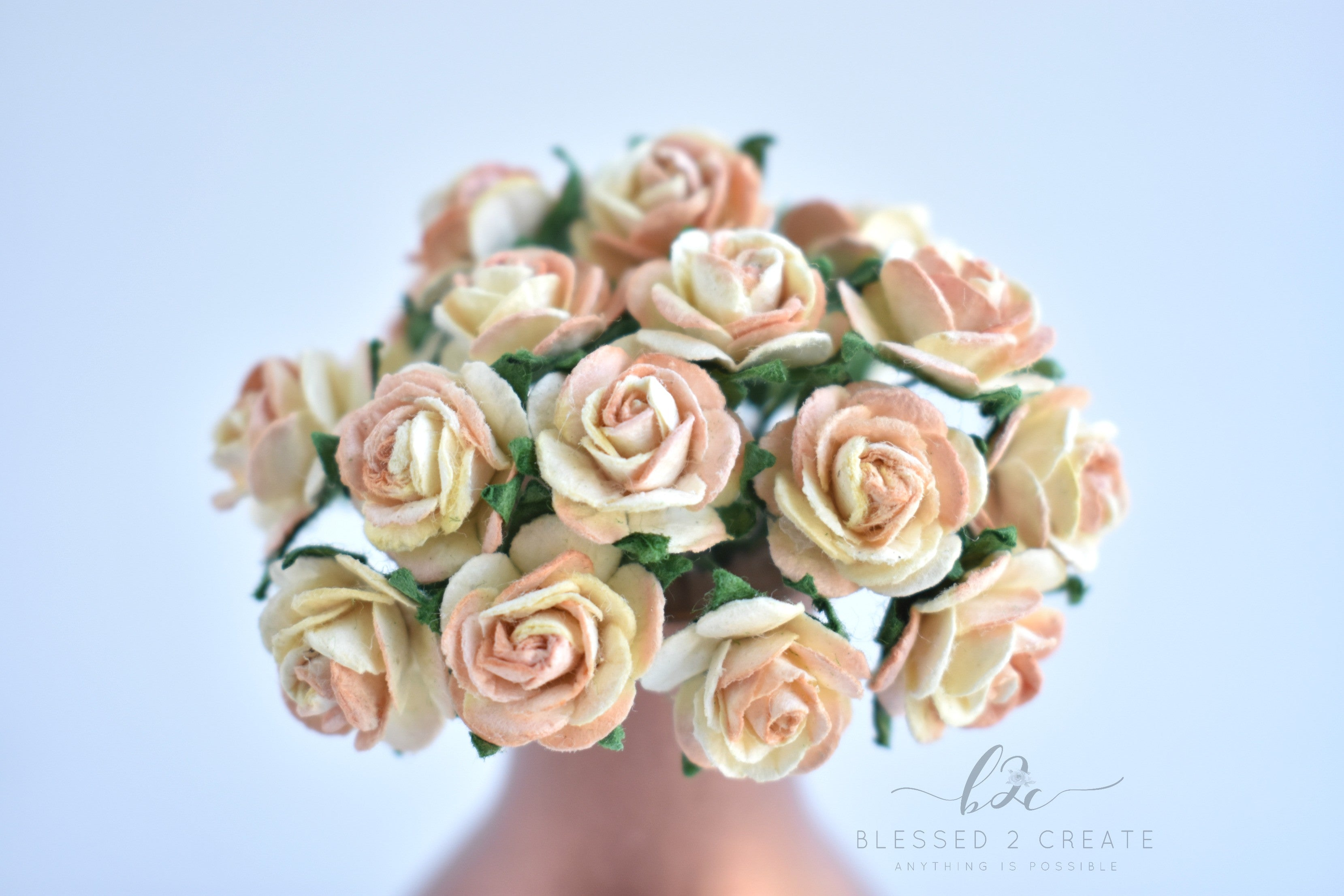 10 15mm Peach And Cream Mulberry Paper Flowers Sprinkledwithfunfetti