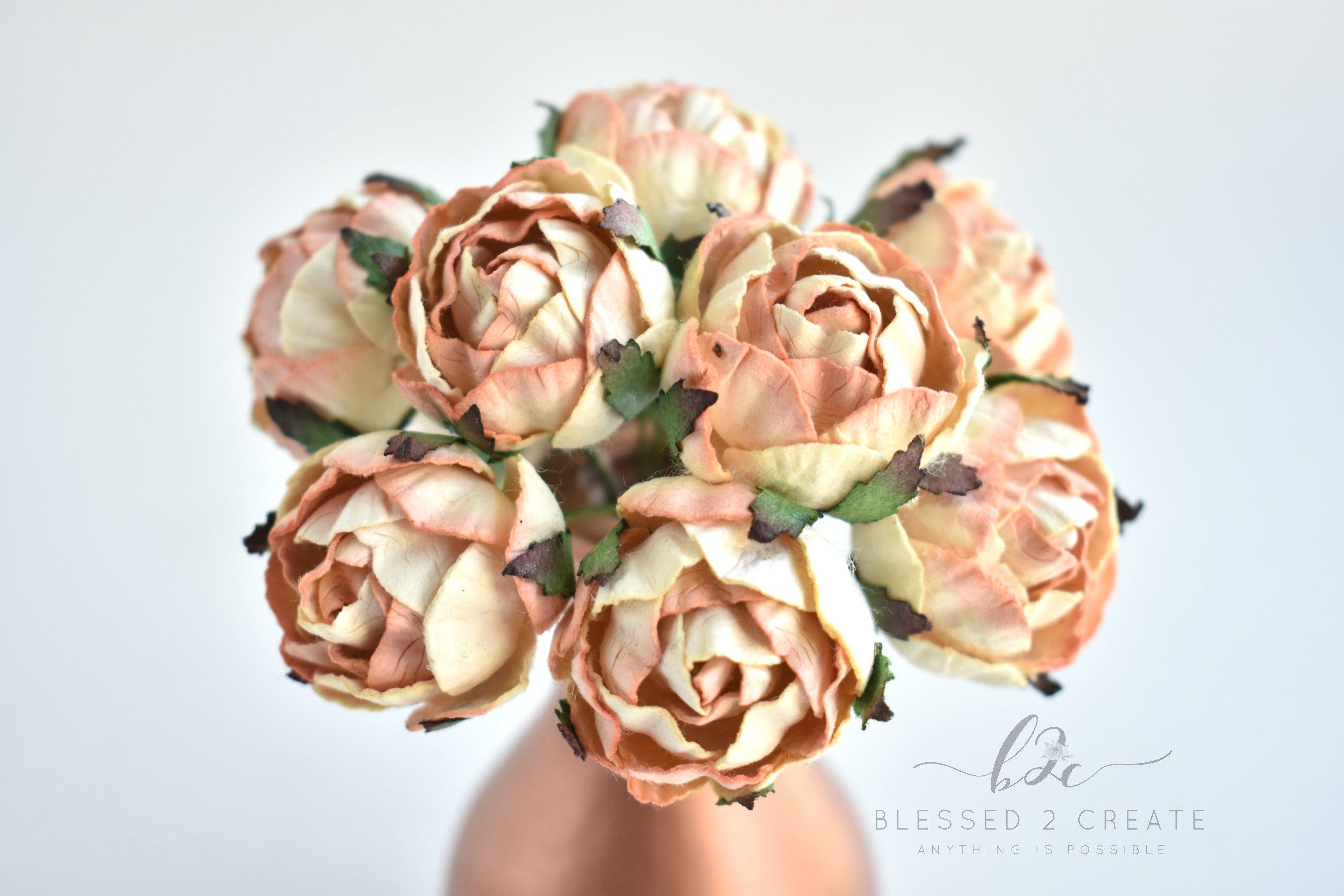5 25mm Peach And Cream Ranunculus Mulberry Paper Flowers