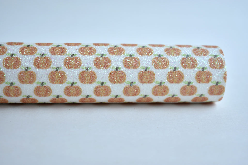 Pumpkins Fine Glitter Custom Fabric Sheet