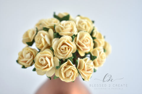 Roses tagged roses page 4 blessed2create 10 15mm cream rose mulberry paper flowers mightylinksfo
