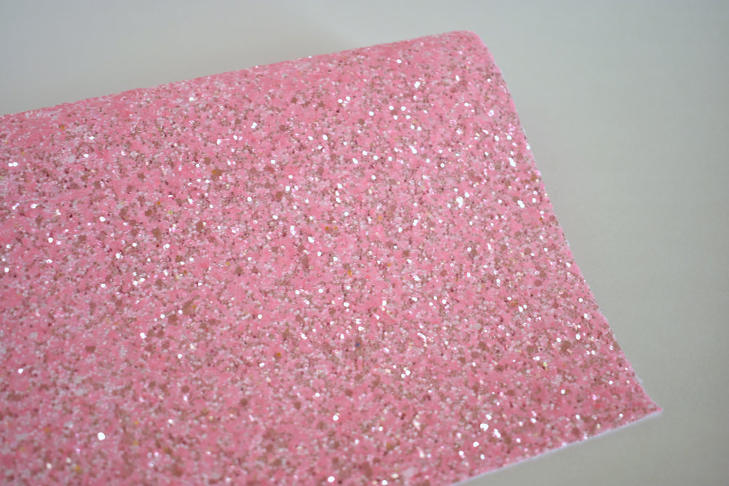 Taffy Pink Frosted Chunky Glitter Fabric Sheet