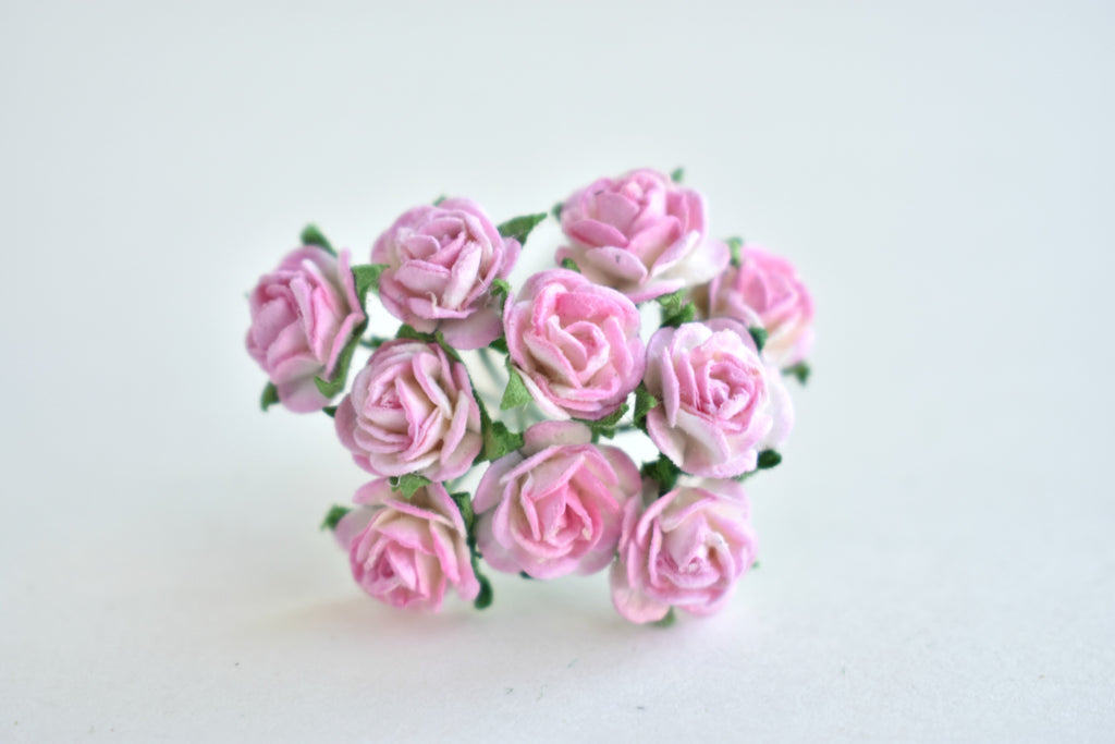 10 - 10mm Pink and White Rose Mulberry Paper Flowers