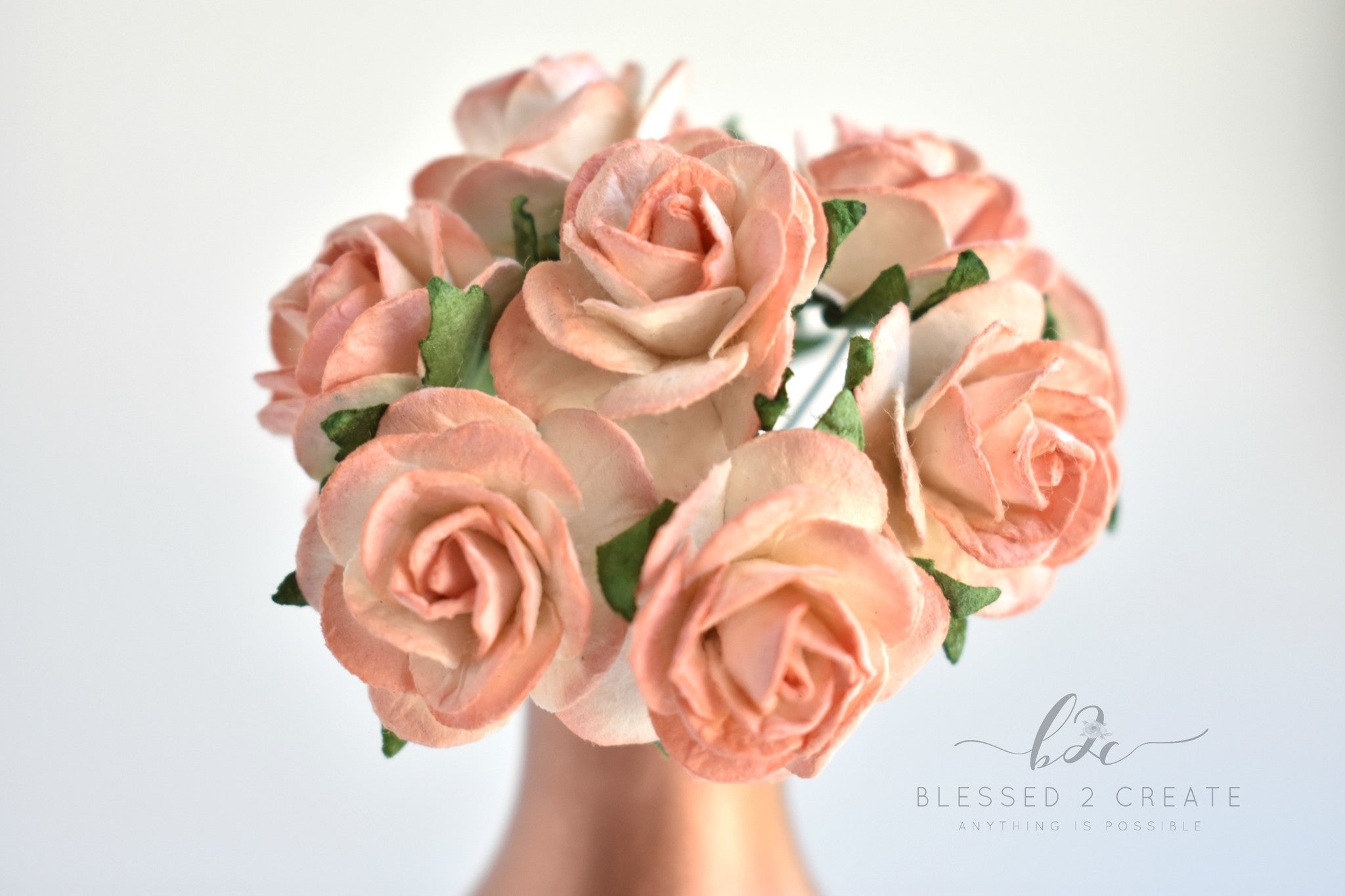 5 25mm Cream And Peach Rose Mulberry Paper Flowers
