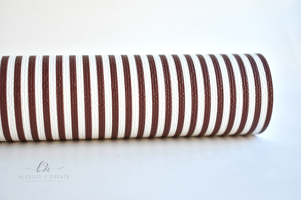 Brown and White Striped Faux Leather Fabric Sheet