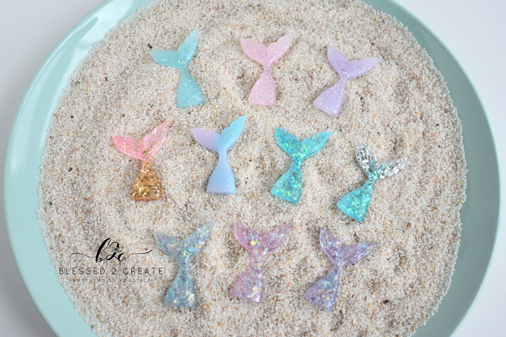 4 Blue Glitter Mermaid Tails Cabochon Embellishments
