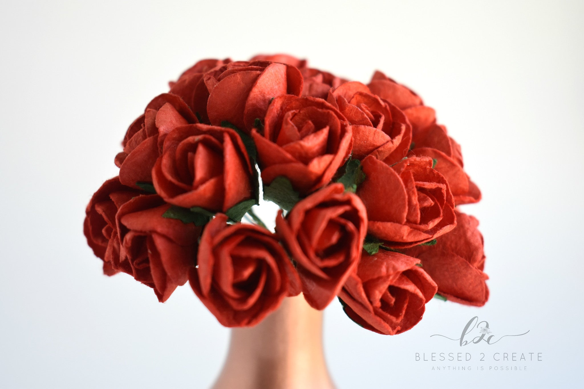 10 15mm Red Rose Buds Mulberry Paper Flowers Sprinkledwithfunfetti