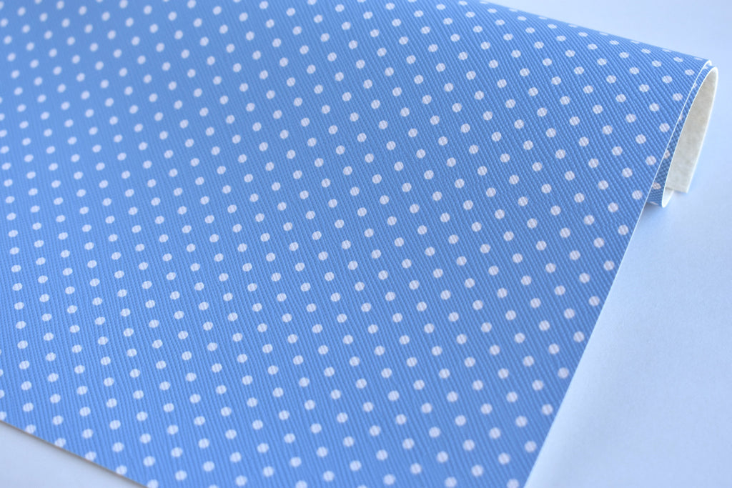 Baby Blue with White Polka Dots Faux Leather Fabric Sheet