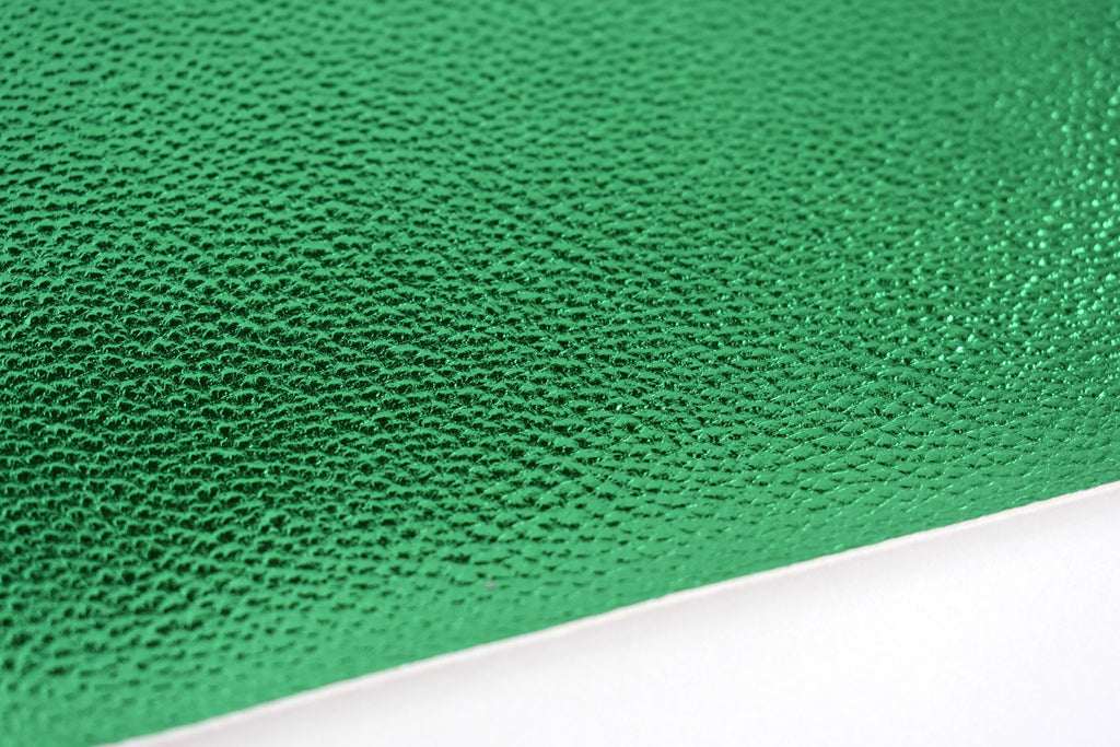 Emerald Shiny Metallic Textured Faux Leather Fabric Sheet