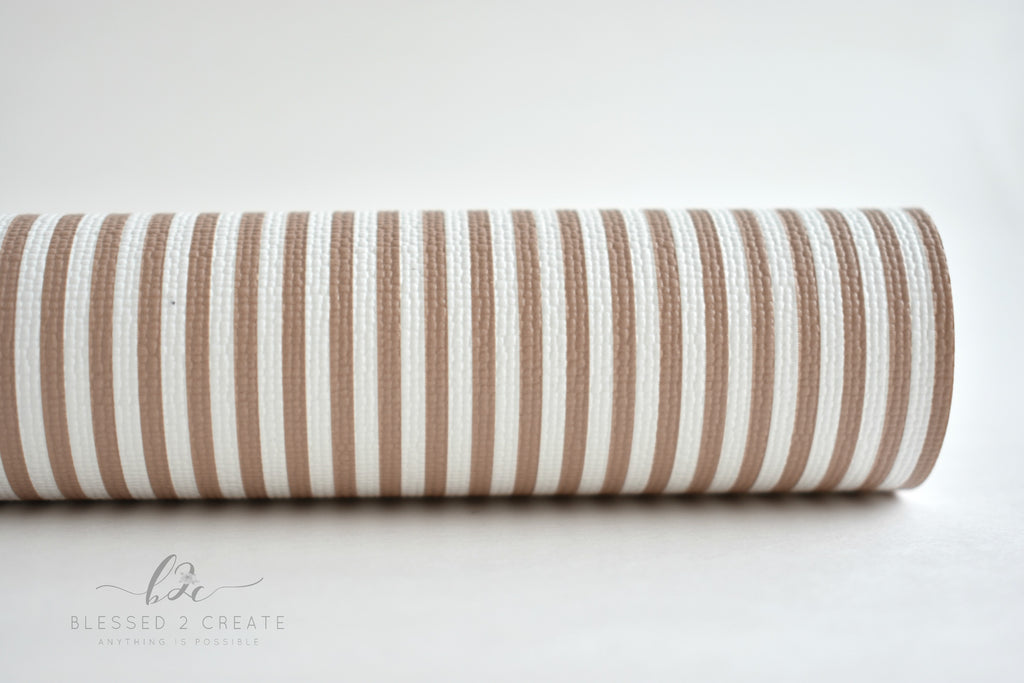 Tan and White Striped Faux Leather Fabric Sheet