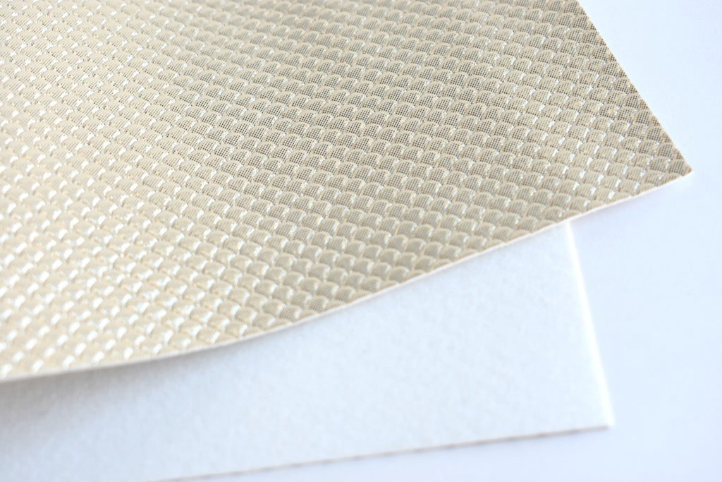Gold Mermaid Scale Iridescent Faux Leather Fabric Sheet